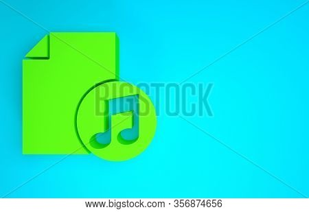 Green Music Book With Note Icon Isolated On Blue Background. Music Sheet With Note Stave. Notebook F