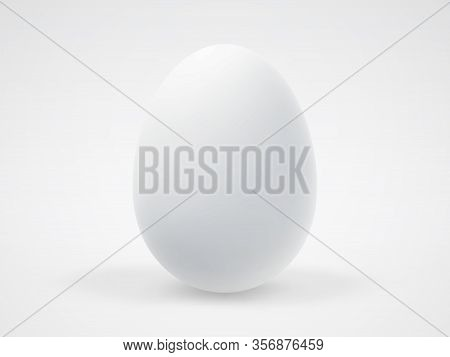 Single White Realistic 3d Egg With Shadow On White Background. Concept Of Ecological Organic Food An