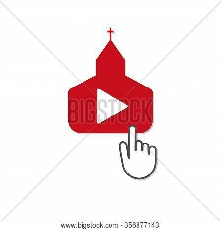 Online Christian Church Service Quarantine Streaming Video Vector
