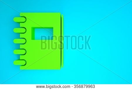 Green Notebook Icon Isolated On Blue Background. Spiral Notepad Icon. School Notebook. Writing Pad.