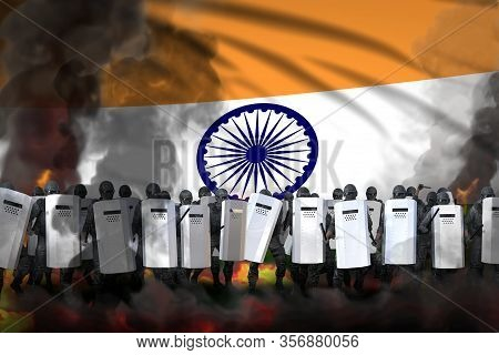 India Police Squad In Heavy Smoke And Fire Protecting Peaceful People Against Revolt - Protest Stopp
