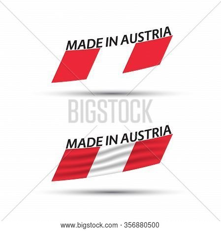 Two Modern Colored Vector Austrian Flags Isolated On White Background, Flags Of Austria, Austrian Ri