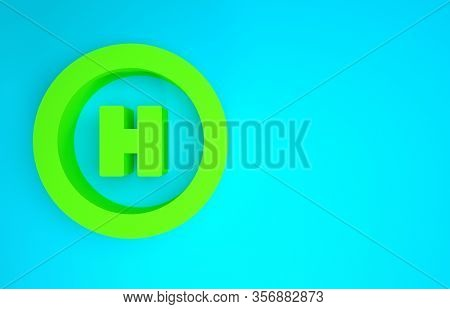 Green Helicopter Landing Pad Icon Isolated On Blue Background. Helipad, Area, Platform, H Letter. Mi