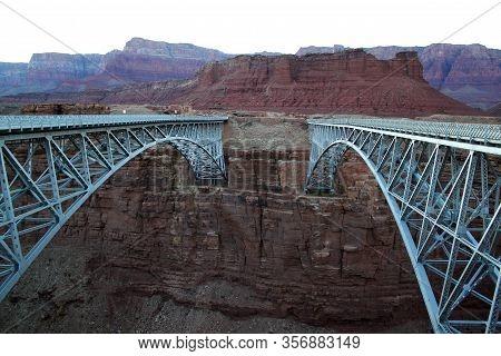 Twin Navajo Bridges Spanning Colorado River In Usa