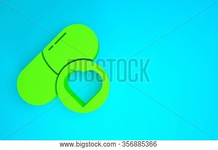 Green Pills For Potency, Aphrodisiac Icon Isolated On Blue Background. Sex Pills For Men And Women.