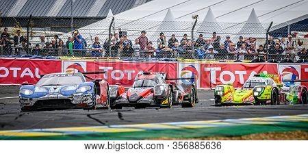 Le Mans / France - June 15-16 2019: 24 Hours Of Le Mans, Ford Gr, Oreca07 & Rebellion R13 During Rac