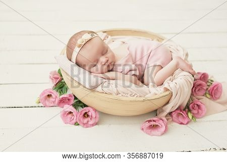 Sleeping Newborn Baby. Healthy And Medical Concept. Healthy Child, Concept Of Hospital And Happy Mot