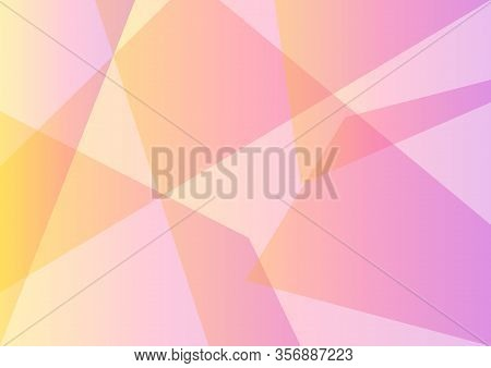 Pastel Yellow Pink Abstract Background, Facet Layer, Multicolor Transparent Backdrop, Vector Illustr