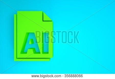 Green Ai File Document. Download Ai Button Icon Isolated On Blue Background. Ai File Symbol. Minimal