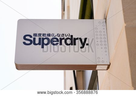 Bordeaux , Aquitaine / France - 09 18 2019 : Superdry Store Sign Shop Uk Branded Clothing Company