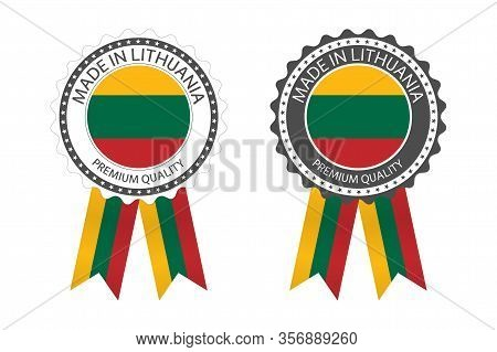 Two Modern Vector Made In Lithuania Labels Isolated On White Background, Simple Stickers In Lithuani