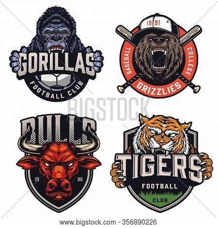 Sports Teams Colorful Emblems Set With Ferocious Gorilla Grizzly Red Bull Tiger Mascots Letterings S