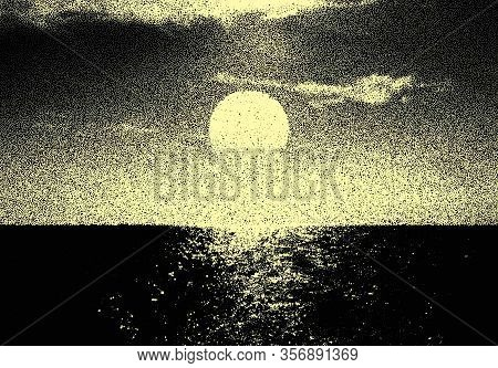 Endless Sea Landscape Or Seascape With Sunrise And In Retro Dotwork Style