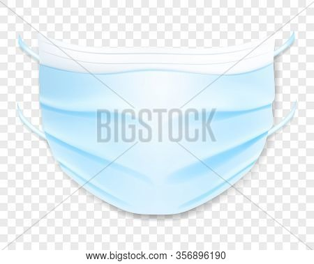 Medical Disposable Mask With Shadow, Isolated On Transparent Background. Virus Protection