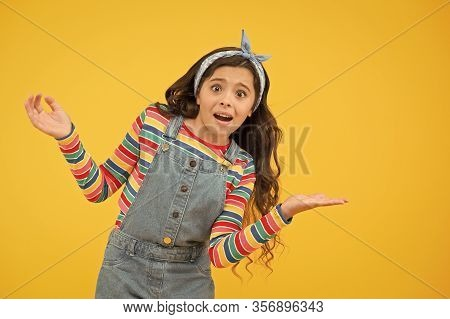 Advertisement Concept. Product Presentation. Kid Happy Smiling Face Show Something On Open Palm Copy