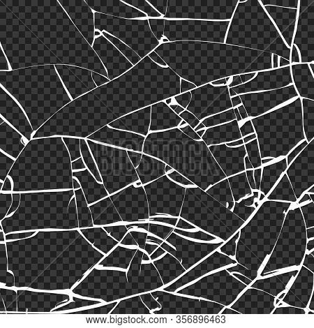 Surface Of Broken Glass Texture. Sketch Shattered Or Crushed Glass Effect. Vector