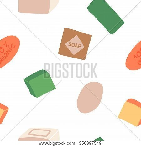 Fun Hand Drawn Various Soap Bars Seamless Pattern For Textile, Cloth, Fabric, Wallpaper, Coverage, W