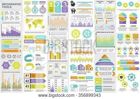 Business Infographic Elements Set. Data Visualization Bundle For Creative Marketing Presentation Sli