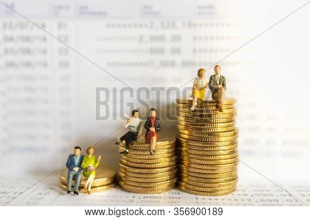Business, Money, Financial, Secure And Saving Concept. Group Of Businessman And Woman Miniature Figu