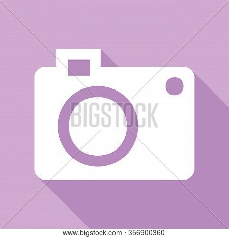 Digital Camera Sign. White Icon With Long Shadow At Purple Background. Illustration.