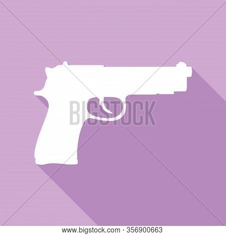 Gun Sign Illustration. White Icon With Long Shadow At Purple Background. Illustration.