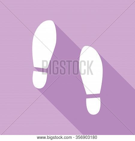 Imprint Soles Shoes Sign. White Icon With Long Shadow At Purple Background. Illustration.