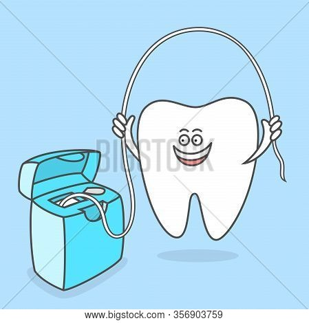 Cartoon Tooth With Dental Floss. Teeth Care Concept And Hygiene. Dental Vector Illustration For Kids