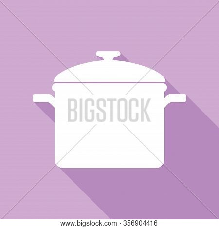 Cooking Pan Sign. White Icon With Long Shadow At Purple Background. Illustration.