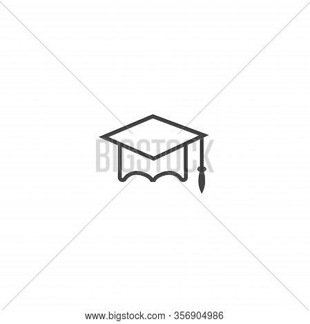 Graduation Cap Vector Icon. Hight School Symbol On White Isolated Background. Layers Grouped For Eas