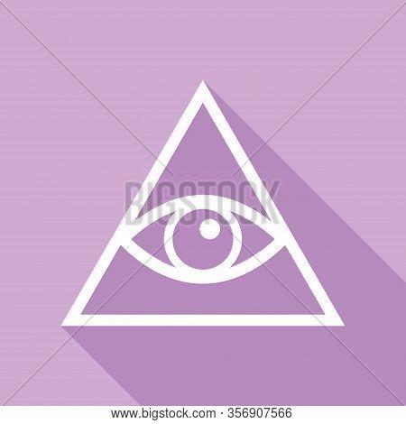 All Seeing Eye Pyramid Symbol. Freemason And Spiritual. White Icon With Long Shadow At Purple Backgr