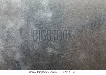 Uncoated Flat Cold Rolled Steel Sheet Surface With Finger Prints And Hand Fat Dirt. Close-up In Dire