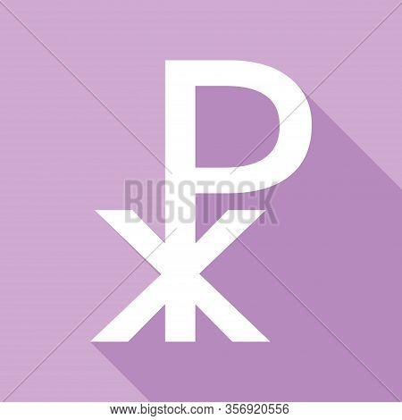 Constantine Cross Sign. White Icon With Long Shadow At Purple Background. Illustration.