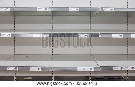 Empty Supermarket Shelves After Panic Buying During The Coronavirus Pandemic