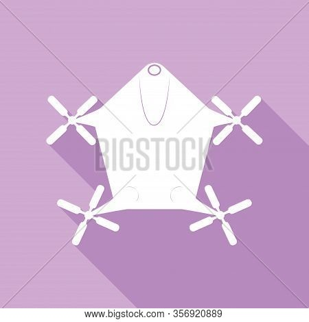 Drone Quadrocopter Sign. White Icon With Long Shadow At Purple Background. Illustration.
