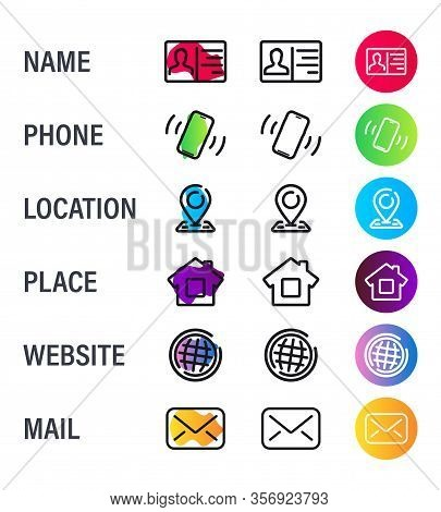Business Card Icons. Contact Us Icons. Business Card Contact Information Icons. Vector Thin Line Sym