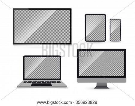 Set Of Realistic Mock Ups Of Tv Screen, Computer Monitor, Laptop, Tablet And Mobile Phone. Electroni