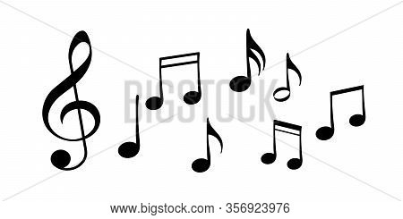 Set Of Music Notes. Music Background Elements. Music Notes. Song, Melody Or Tune - Vector Icon For M
