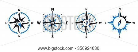 Compass - Vector Signs And Symbols Logo Set. Navigation Compass, Rose With North, South, East And We