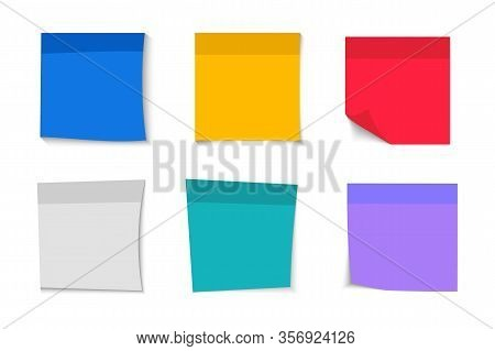 Collection Of Different Blank Stickers. Post Note Stickers. Sticky Tapes With Space For Text Or Mess