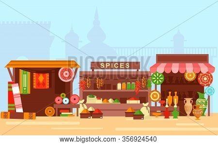 Asian Market Flat Cartoon Concept Vector Illustration. Arabic Bazaar On Old Eastern City Background