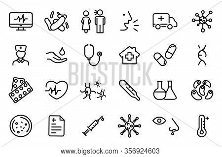Medicine And Health Symbols - Outline Web Icon Set. Bacteria, Virus Vector Line Icons. Coronavirus I