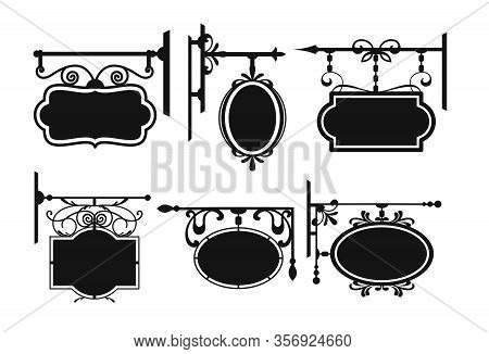 Outside Street Signboard With Original Tracery Hangers Silhouette Vector Illustration Set