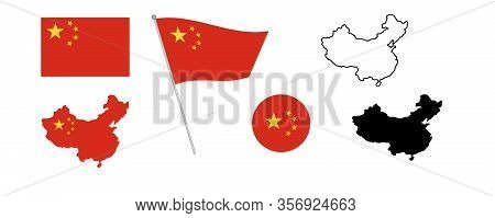 National China Flag. Map Of China Filled With The Flag. Black And Sketch Blank China Map On White Ba