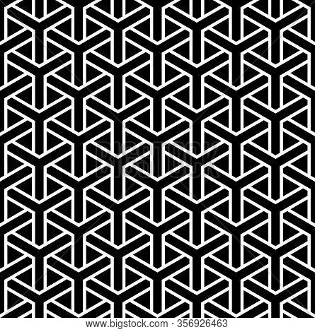 Seamless Geometric Hexagons Pattern. White Texture On Black Background. Vector Art.
