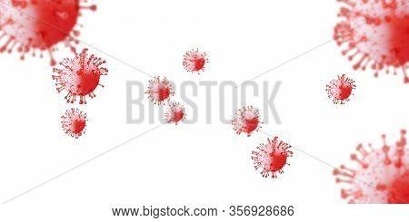 Flu Covid-19 Virus Cell Virus Background. Coronavirus Outbreak Influenza Infection 3d Render. Pandem