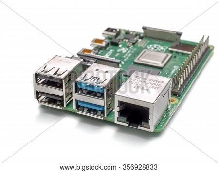 Galati, Romania - March 20, 2020: Close-up Of A Raspberry Pi 4 Model-b. The Raspberry Pi Is A Credit