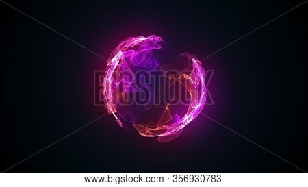 Abstract Magic Sphere, Computer Generated Background. Multicolored Gaseous Shape From Glow Neon Part