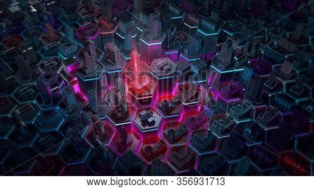 Abstract 3d City Rendering With Lines And Digital Elements On Hexagonal Basis. Technology Smart City
