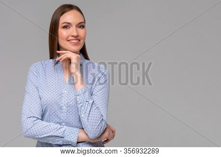 Sassy And Successful Good-looking Accomlished Female Lifestyle Blogger Combed Holding Fists Under Ch