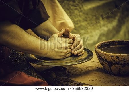 Traditional Clay Potter, Craftmanship Detail, Art Of Man